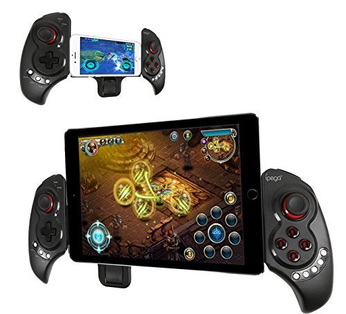 iPega Newest Extendable gamepad Game Controller Portable Bluetooth Wireless Gamepad Joystick Control for Android Samsung Galaxy Note 3 S5 HTC Sony Xperia LG and iOS iPhone 6 5S 5C 5 iPad 5 4 iPod, Supports Up to 10