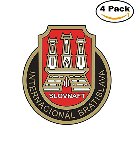 fan products of Slovnaft Internacional Bratislava Slovakia Soccer Football Club FC 4 Stickers Car Bumper Window Sticker Decal 4X4