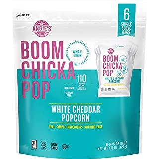Angie's BOOMCHICKAPOP Gluten Free White Cheddar Popcorn, 0.75 Ounce Snack Pack Bag, 6-Count