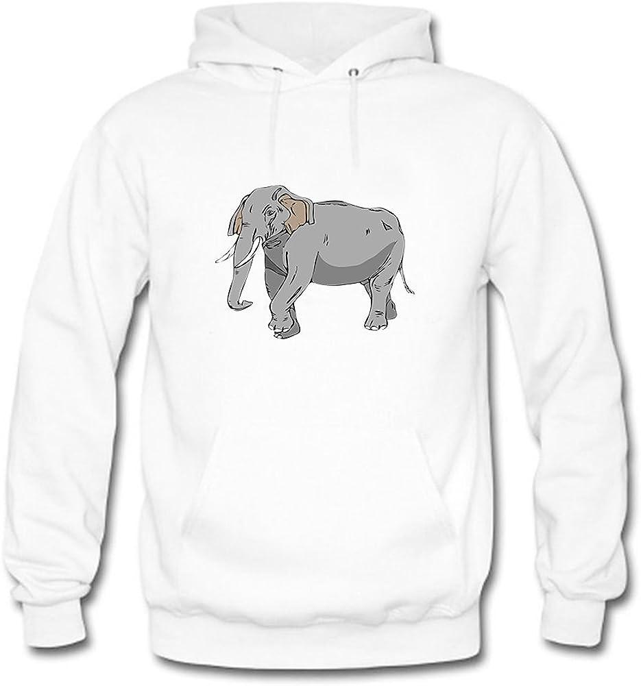 Felpa con Cappuccio da Uomo Elephant Animal Printed Hooded Sweatshirt