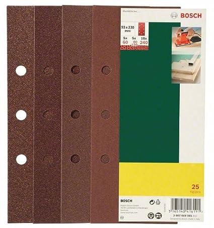 Bosch 2607019495 Lot de feuilles abrasives pour Ponceuse vibrante 8 trous 93 x 185 mm Grain 40-120 25 pià ¨ ces