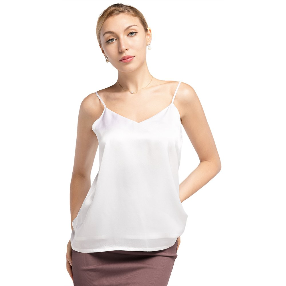 LilySilk Silk Camisole for Women Sexy V Neck 16MM Cool for Summer Soft Comfy Pure Mulberry Ladies Tops White L/12