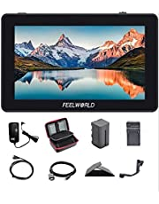 FEELWORLD F6 Plus 5.5 Inch 3D LUT Touch Screen IPS FHD1920x1080 Support 4K HDMI Field Monitor On DSLR Camera with Tilt Arm (with Adapter 12V, Battery and Charger)