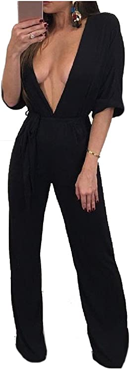 Wofupowga Women Loose Palazzo Pure Colour Plus Size Wide Leg Rompers Jumpsuits