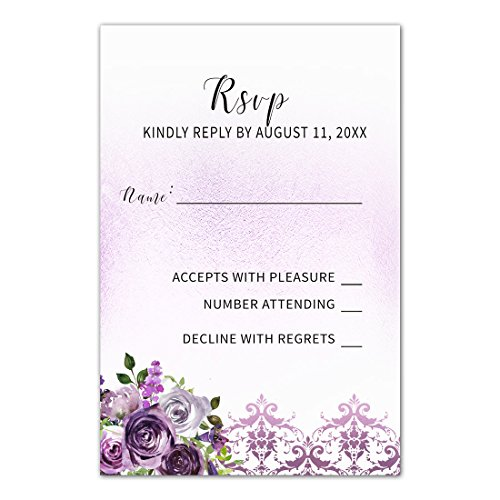100 RSVP Response Cards Purple Plum Lavender Damask Floral Design + Envelopes (Kit White Invitations Damask)