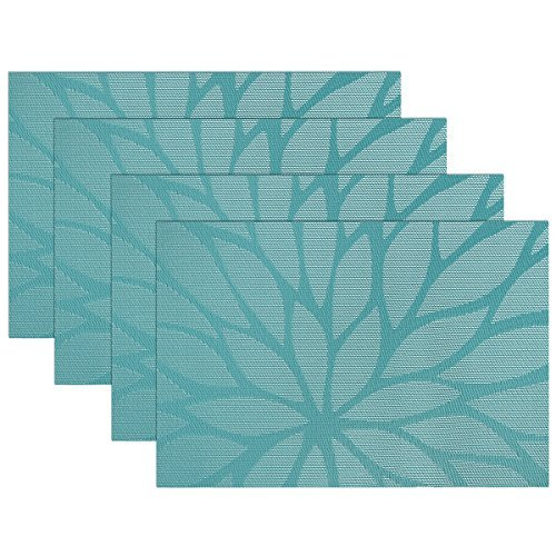 SICOHOME Placemats,Vinyl Woven Placemats for Home Kitchen Dining Table,Set of 4,Blue