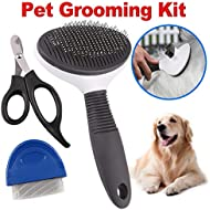 3 in 1 Dog Grooming Kit, Set of 3 Dog Nail Clippers, Cat Flea Comb, Self Cleaning Slicker Brush, Professional Pet Grooming Tool for Small, Medium, Large Animals