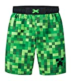Mojang Minecraft Big Boys Swim Trunk,Green, Black,S (6/7)
