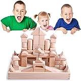 Wooden Unit Blocks,Kids Construction Building Starter Toys Set Natural Hardwood Stacking Bricks with Storage Tray…