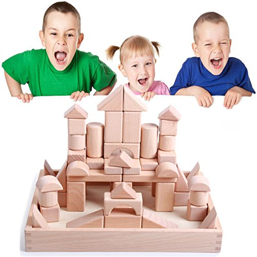BigNoseDeer Wooden Unit Blocks,Kids Construction Building Starter Toys Set Natural Hardwood Stacking Bricks With Storage Tray, Educational and Activity for Children, Toddlers(56 pcs)
