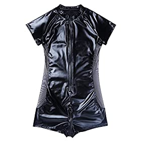 - 51POZu5nSJL - CHICTRY Men's Wet Look Black Leather Bodysuit Catsuit Mesh Splice Clubwear Costumes