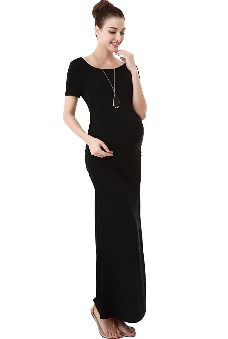 Momo Maternity Tee Shirt Column Dress - Black M at Amazon Womens Clothing store: