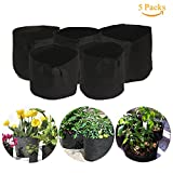Nokire Grow Bags 7 Gallon Potato Planter Bag Aeration Fabric Grow Pots Vegetable Patio, Growing Bags for Plants with handles for Home Gardening - Growth Friendly (5 Pack)
