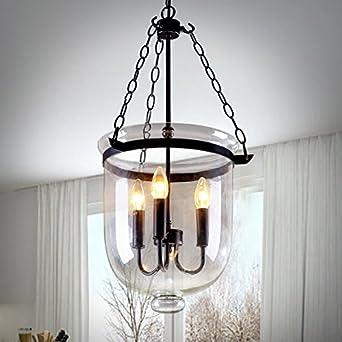 amazon com jinyuze retro rustic clear glass bell jar chain ceiling