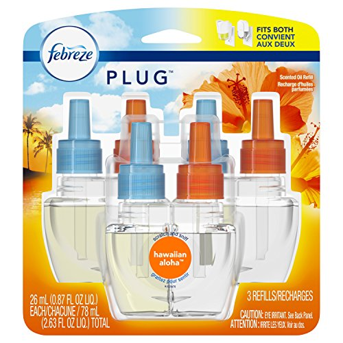 Febreze Plug Air Freshener Scented Oil Refill, Hawaiian Aloha, 3 Count by Febreze