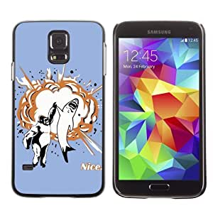Licase Hard Protective Case Skin Cover for Samsung Galaxy S5 - Shark & Gorilla High Five