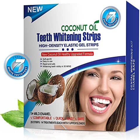 KAV PLUS PROFESSIONAL ADVANCED TEETH WHITENING STRIPS WITH COCONUT OIL HOME TOOTH BLEACHING WHITE STRIPS