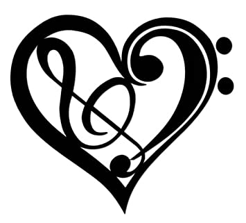 Music Notes with Hearts Pink Vinyl Car Window Sticker Bumper Computer