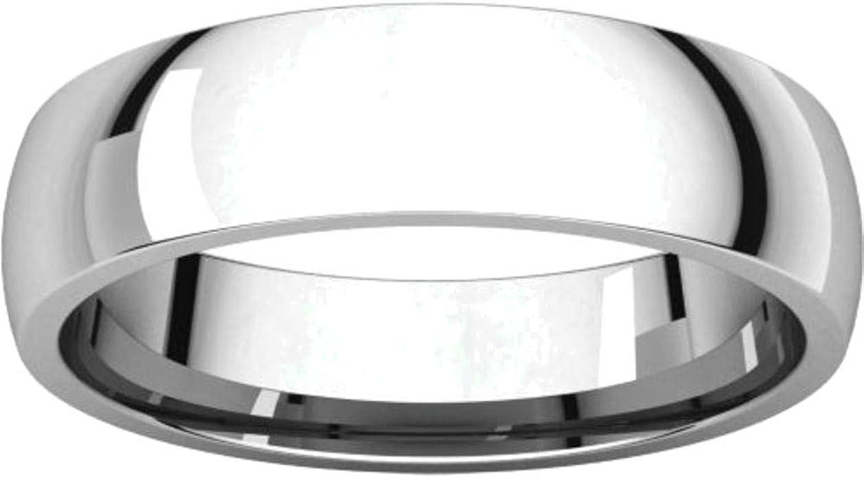 Bonyak Jewelry 10k White Gold 5 mm Half Round Band Size 4