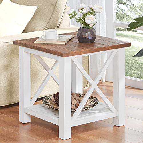 Furnichoi Farmhouse Wood End Table for Living Room, Vintage Rustic X Side Table, White and ()