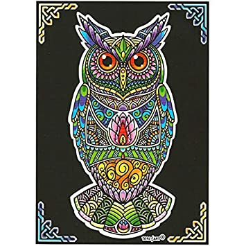 Lamina Para Colorear Con Caja De Rotuladores Buho Mandala