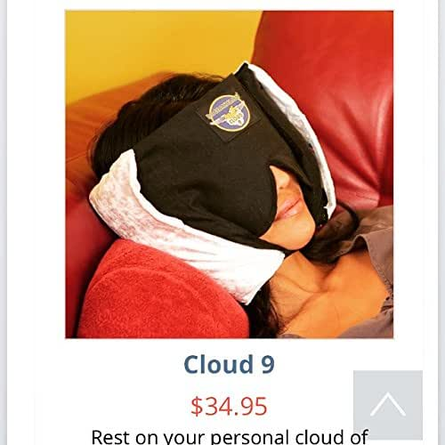 Cloud 9 - Patented Sleep-Mask Pillow - Ingenious, with Secret Pockets, Chin Strap, Free Soft Earplugs, String-tie Carry Bag - Free! - Air Travel Crew HiSign Stickers