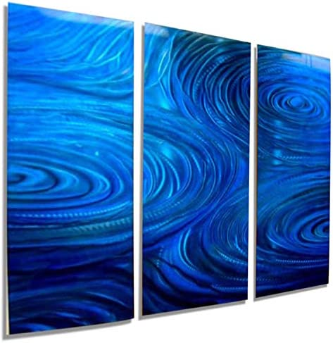 Statements2000 Abstract Water Inspired Large 3D Metal Wall Art Painting Panels Hanging Sculpture by Jon Allen, Blue, 38 x 24 – Cobalt Ripple 3