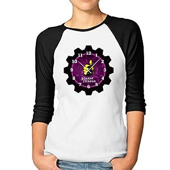Amazon.com: Women Planet Fitness Clock Baseball Raglan Shirts 3 Quarter Sleeve Tee ...
