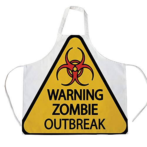 Zombie Decor 3D Printed Cotton Linen Apron,Warning Zombie Outbreak Sign Cemetery Infection Halloween Graphic Decorative,for Cooking Baking Gardening,Earth Yellow Red Black