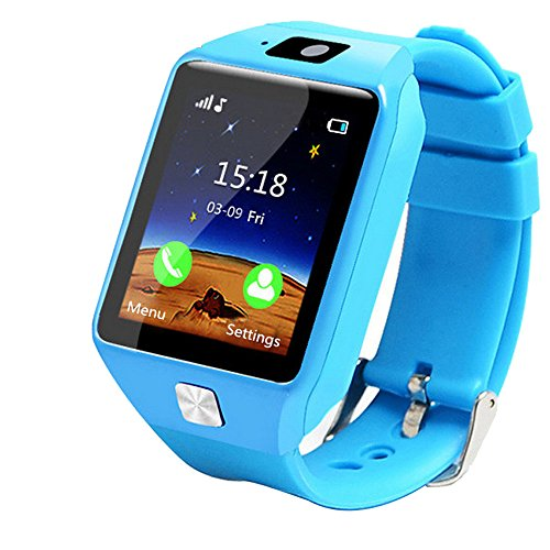 Choosebuy Kid Smart Watch, Touch Screen Bluetooth Smart Wristwatch/Sleeping Reminding/Pedometer/Anti-lost Remote Camera Smartwatch Bracelet for Android for Kids (Blue)