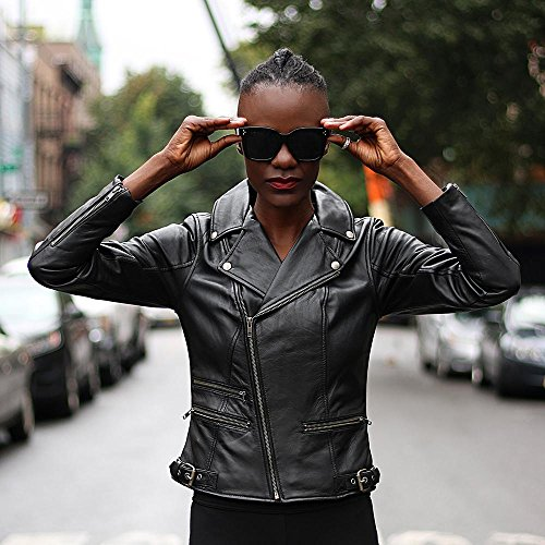 Mujer Cuero Negro Blu Para Whet Chamarra de OqTRw1x