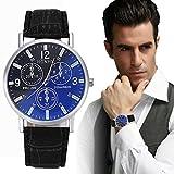 Han Shi Business Wristwatch, Mens Luxury Crocodile Faux Leather Quartz Analog Watch Jewelry (Black, L)