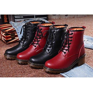 Wsx & Plm Femmes-bottines-casual-confortable-low-pu (polyuréthane) -black Red, Us7.5 / Eu38 / Uk5.5 / Cn38