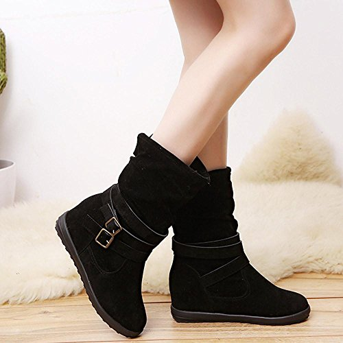 HOT Sale ,AIMTOPPY Ladies Womens Low Wedge Buckle Biker Ankle Trim Flat Ankle Boots Shoes (US:8, Black)