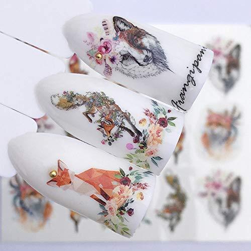 2019 10pcs/ Set NEW Designs Wolf Deer Flamingo Nail Art Water Decals Transfer Sticker Manicure Nail Decoration (Wolf YZW3075)