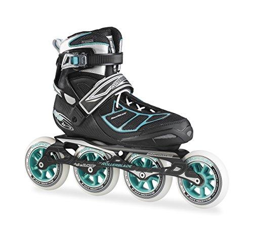 Rollerblade Marathon Skates - Rollerblade New 2015 Tempest W 100C Premium Fitness/Race Skate with 4x100mm Supreme Wheels - SG9 Bearings, Black/Blue, US Women's 7.5
