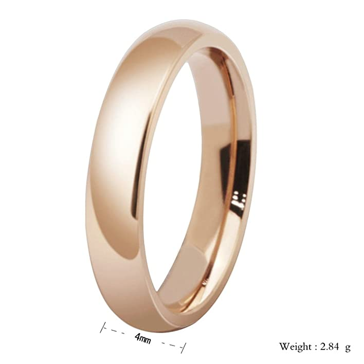 Amazon.com: MoAndy 4MM 18K Rose Gold Plated Smooth Design Classic ...
