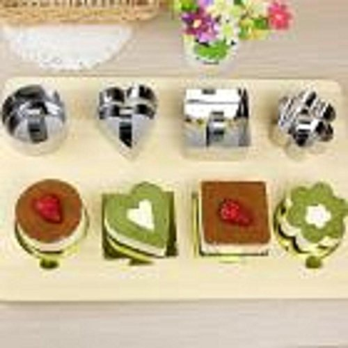 Hot Sale! AMA(TM) Pastry Round Square Heart Forms Cheese Mousses Cake Cookie Mould Sectional Shape Baking Dish Dessert Ring Bakeware Mold (A)