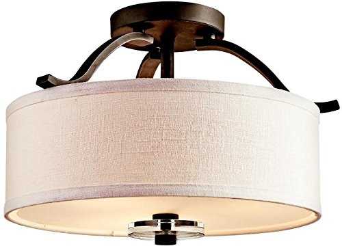 Kichler 42485OZ, Leighton Round Crystal Semi Flush Ceiling Lighting, 3 Light, 225 Watts, Olde Bronze