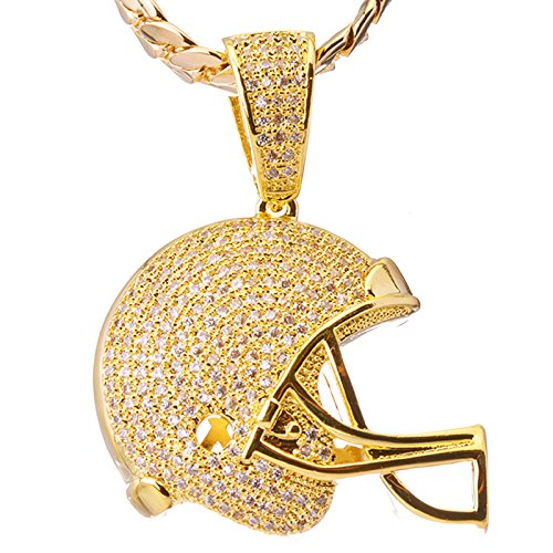 Luxury Hip Hop Iced Out 14kt Gold Plated Mini FootBall Helmet Pendant Miami Cuban Chain Set BCH 1149 (Ball Pendant 14kt Gold Jewelry)
