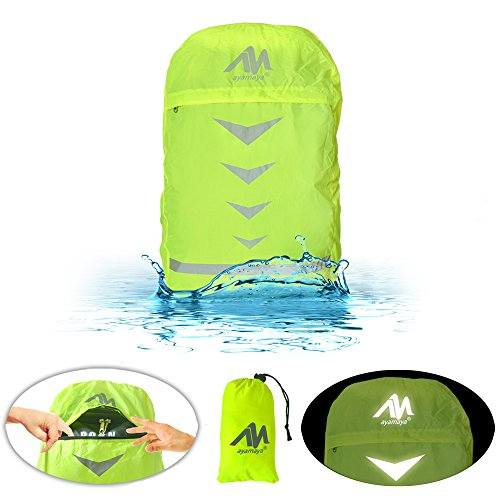 AYAMAYA Waterproof Backpack Rain Cover with Reflective Strip & Stored Bag 30-40L, High Visibility Lightweight Adjustable Daypack Back Pack Water Resistant Covers Raincover for Camping Back to School