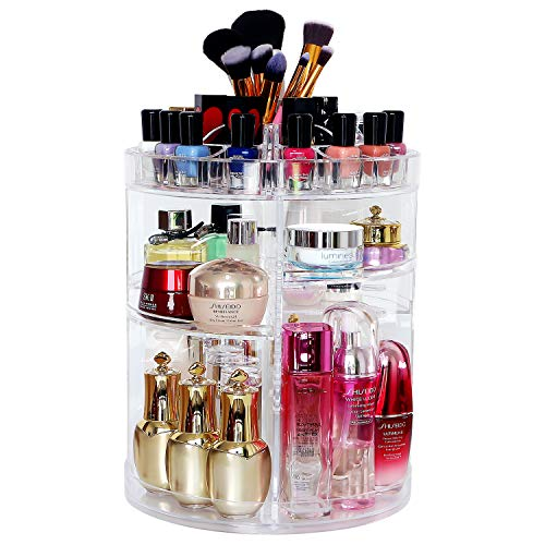 COOLBEAR Makeup Organizer,360 Degree Rotating Adjustable Acrylic Cosmetic Storage Display Case with 6 Layers Large Capacity, Fits Creams, Makeup Brushes, Lipsticks and More, Clear Transparent from COOLBEAR