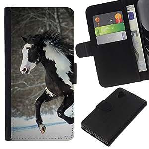 All Phone Most Case / Oferta Especial Cáscara Funda de cuero Monedero Cubierta de proteccion Caso / Wallet Case for LG Nexus 5 D820 D821 // Horse Colorful Indian White Brown Winter Free