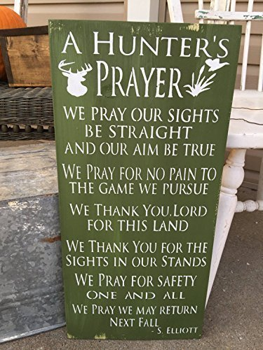 [Hunter's Prayer Rustic Wood Sign Home Decor, Cabin Decor] (Hunter Wood Sign)