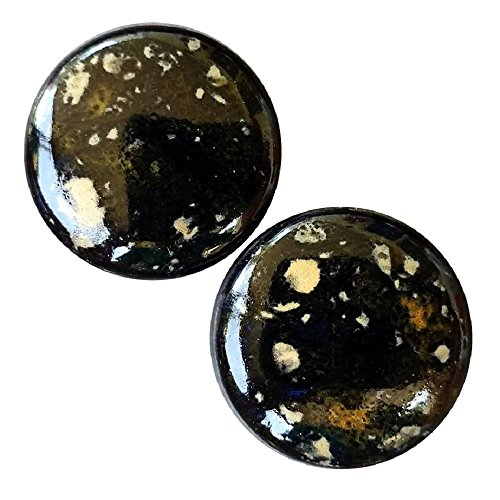 Iris Dropper (Pair - Black Iris Glass Ceramic Ear Plugs Organic Handmade double-flared gauges Essential Oil Diffuser (28mm 1-1/16in))