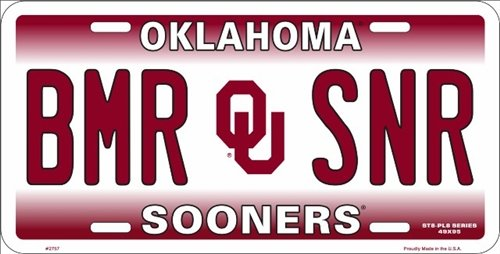 Oklahoma Sooners BMR SNR Metal License Plate - Oklahoma Sooners License Plate