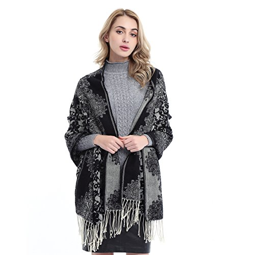 Women's Fashion Warm Flower Lace Pattern Blanket Scarf Winter Elegant Long Wrap Shawl (Wrap Pattern)