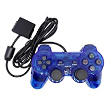 Bowink 1 Pack Wired Gaming Controller for Ps2 Double Shock -Blue