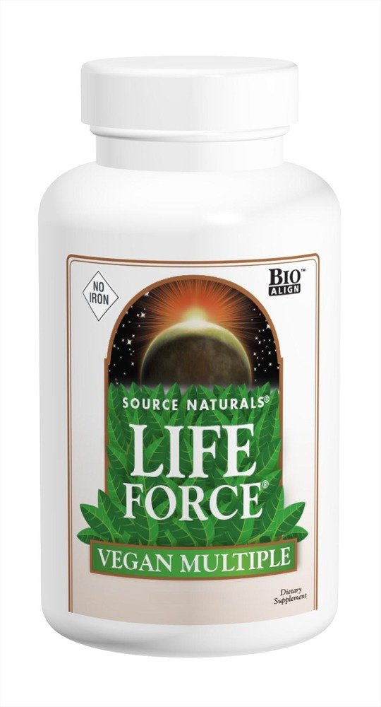 SOURCE NATURALS Life Force Vegan Multiple No Iron Tablet, 180 Count