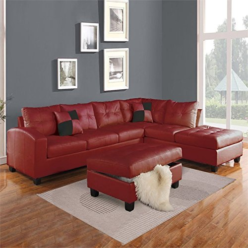 ACME Furniture Kiva 51185 Sectional Sofa with 2 Pillows, Red Bonded Leather Match